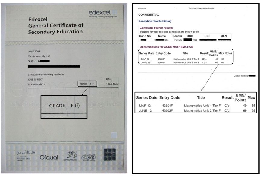 What is my GCSE maths overall grade?